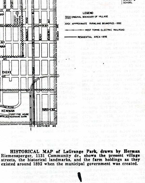 Early Map of La Grange Park